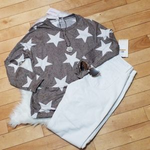 White Star & Mottle Tan Top